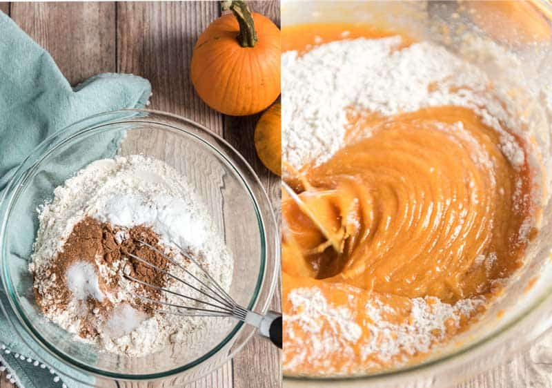 mixing pumpkin muffin batter