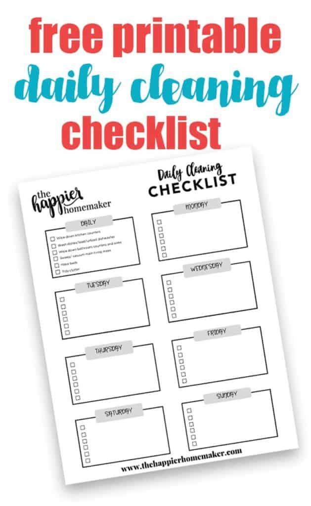 A printable weekly checklist