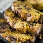 sliced pumpkin zucchini bread with chocolate chips
