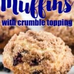 close up of blueberry muffin with crumble topping