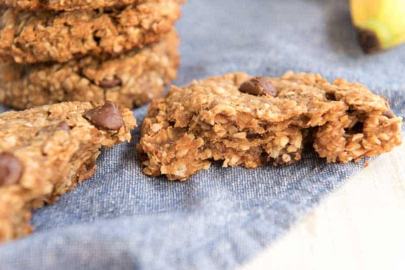 peanut butter oatmeal cookies on blue napkin