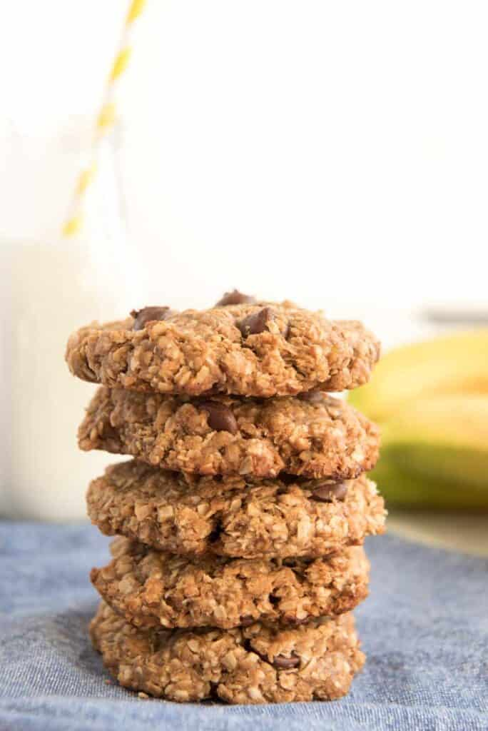 peanut butter oatmeal cookies stacked on top of each other
