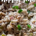 hoppin john with black eyed peas and rice in pan with text overlay