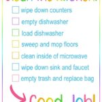 printable checklist with tasks for kids to clean a kitchen