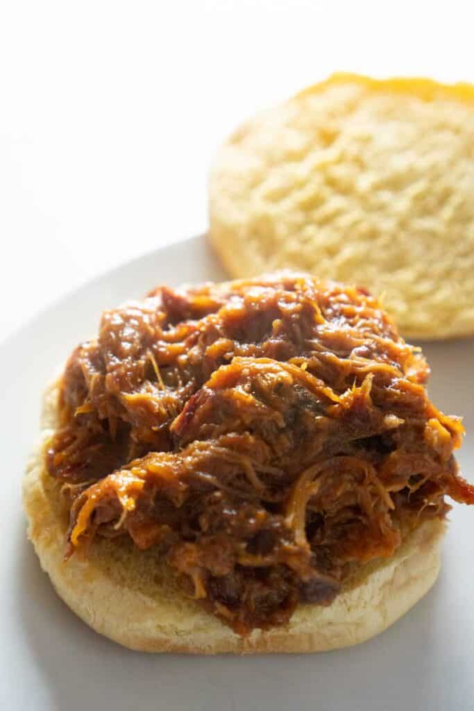 pulled pork on roll on white plate