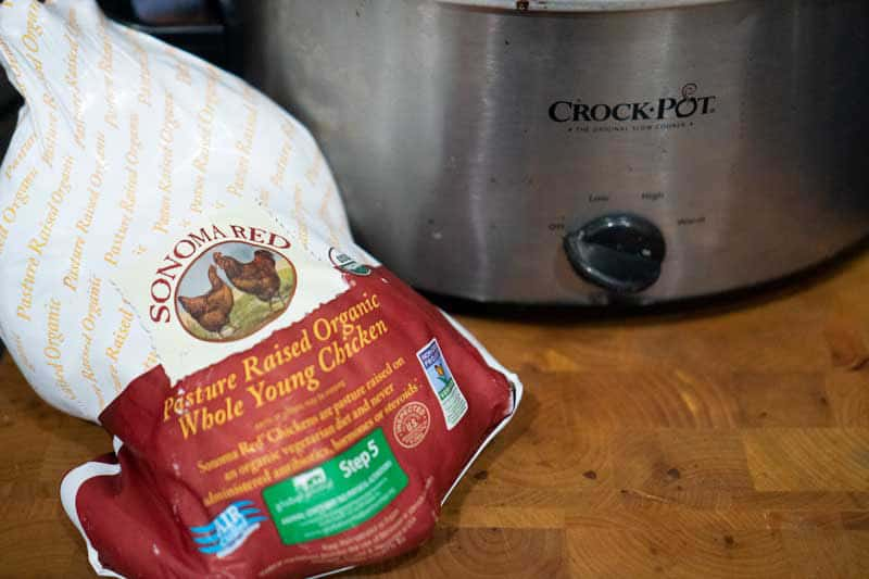 sonoma red orgnaic chicken next to crock pot