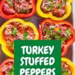 An above picture of turkey stuffed red and yellow peppers