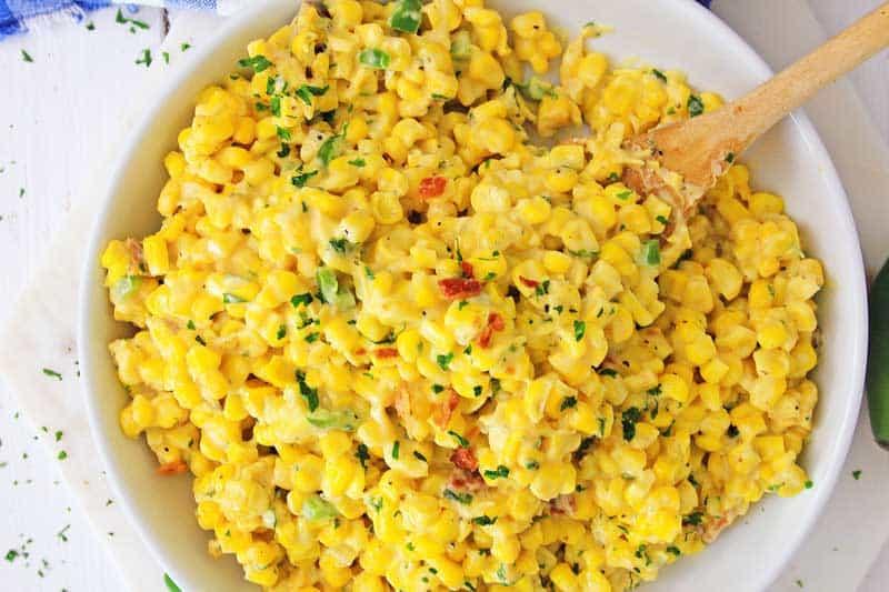 instant pot jalapeño corn dip in white bowl