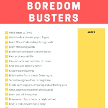 free printable list of kid's boredom buster activities