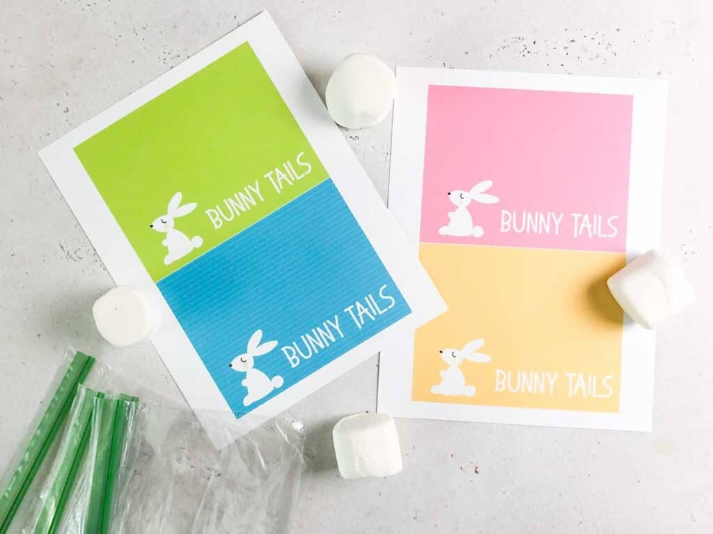 printable bunny tail gift tags for easter in blue, green, pink , and orange