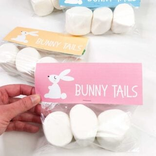 Easter Bunny Tail Gift tags on bag of jumbo marshmallows