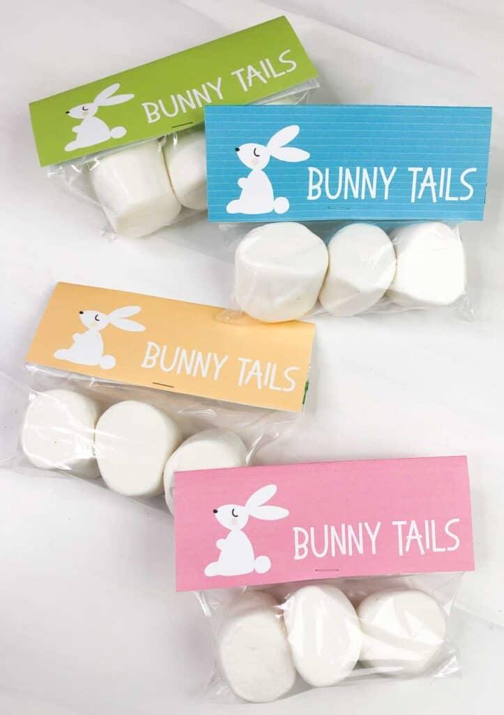 free printable easter bunny tail gift tags with bag of jumbo marshmallows