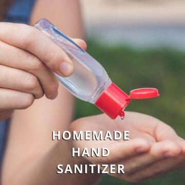 squeezing homemade hand sanitizer into hands