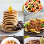 collage of easy pantry meal recipes pancakes burrito bowl nachos rice and beans