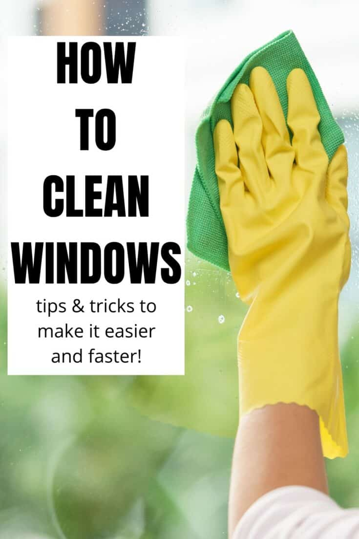 text reading how to clean windows with photo of hand in yellow rubber glove wiping window with green cloth