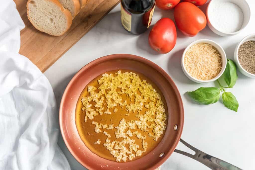 bruschetta ingredients on white countertiop