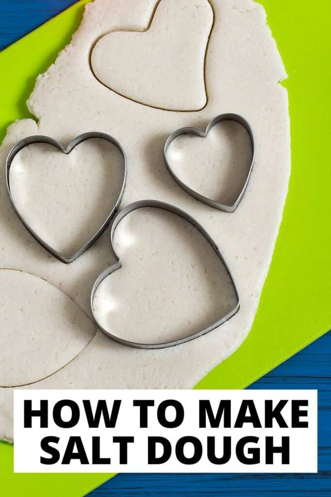 text reading how to make salt dough over photo of dough rolled out with heart cookie cutters