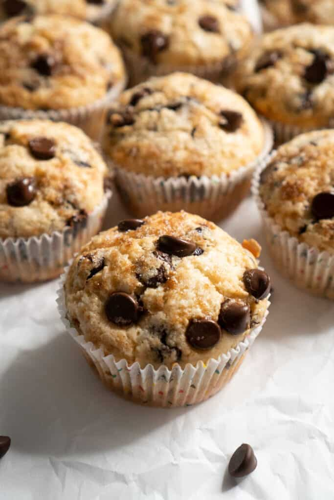 chocolate chip muffins on parchment paper