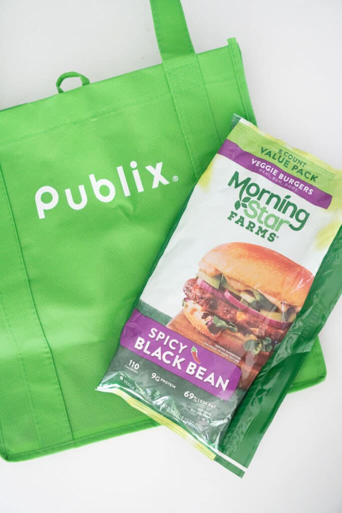 spicy black bean burgers with publix reusable shopping bag
