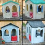 before and after of plastic playhouse spray painted