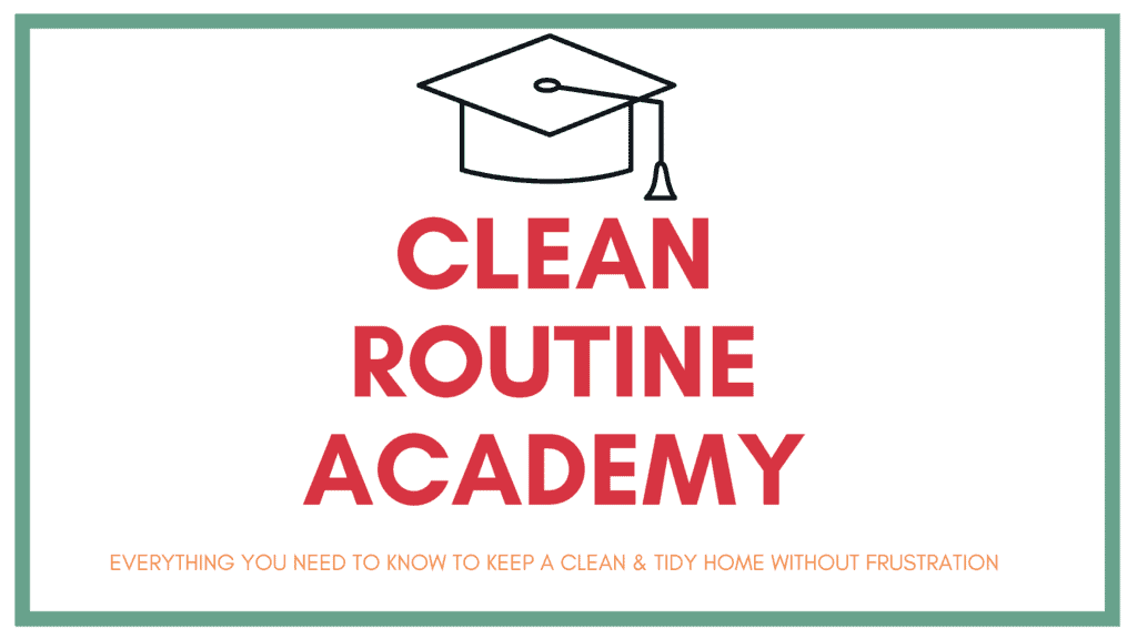 clean routine academy logo with title and icon of graduation cap