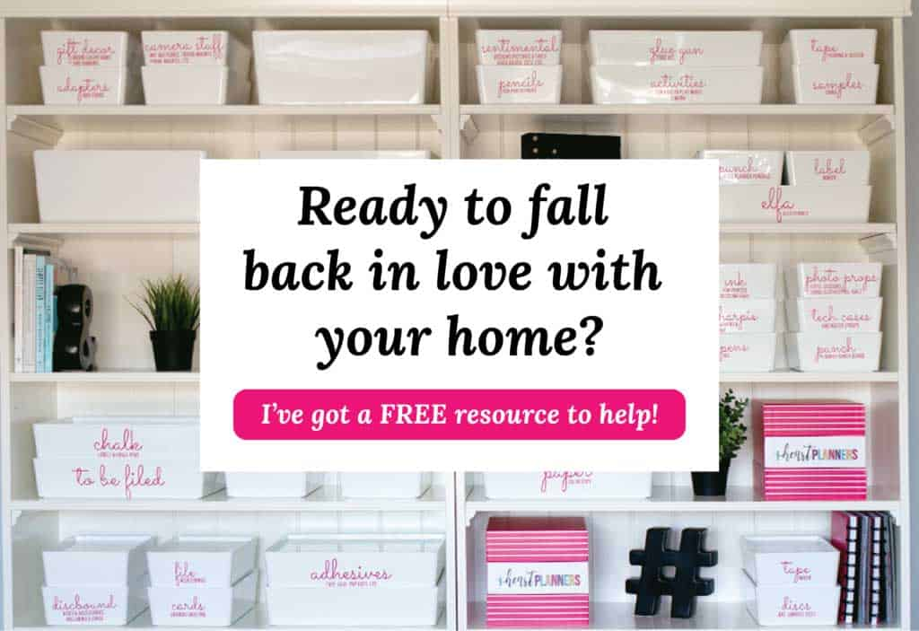 organized bookshelf with text overlay reading ready to fall back in love with your home? and button to go to free resource