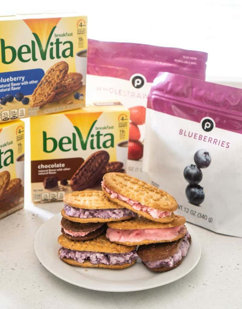 tray of breakfast ice cream sandwiches with biscuit and frozen berry packages