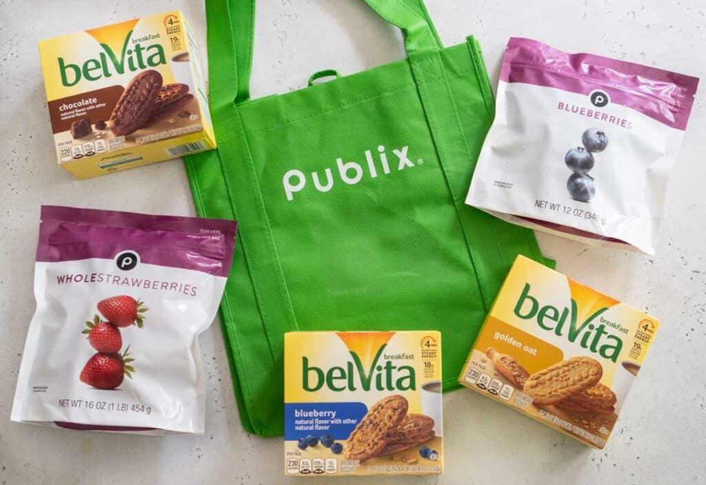 publix reusable shopping bag with belvita breakfast biscuits and frozen berries