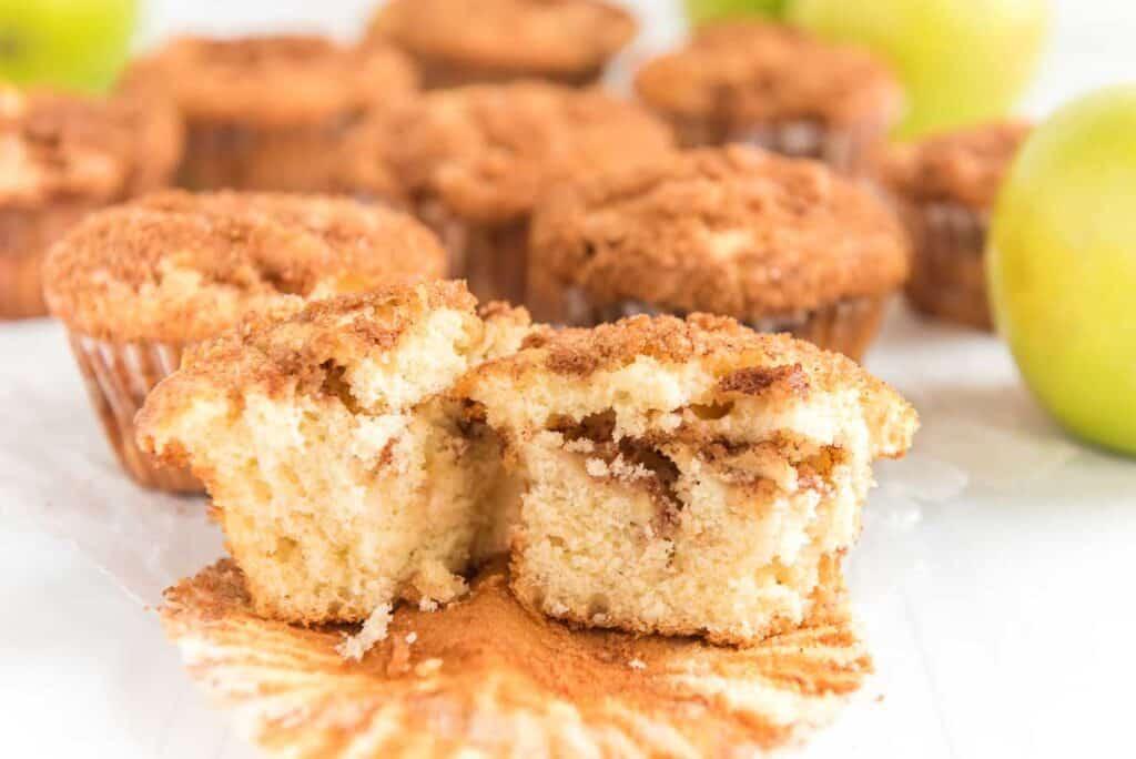 apple cinnamon muffin cut in half