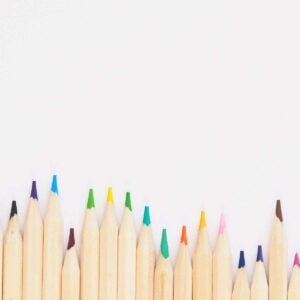 tips of colored pencils lined up
