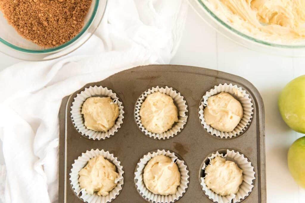muffin batter in tin
