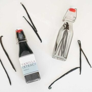 homemade vanilla extract in glass bottles