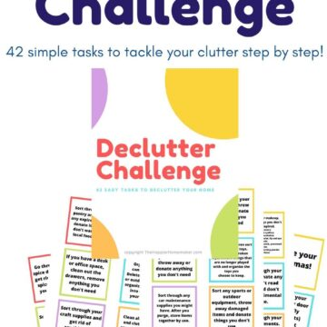 collage of declutter challenge cards