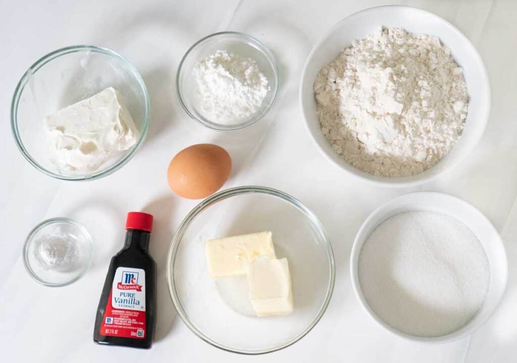 cream cheese cookie ingredients on counter