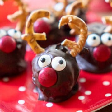 rudolph truffles on red dotted plate