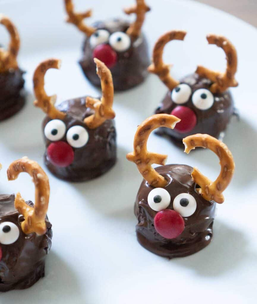 Rudolph chocolate truffles on parchment paper