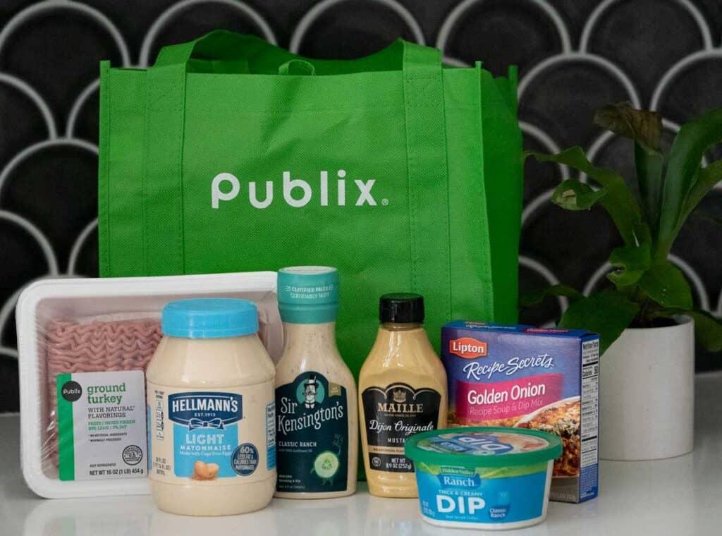 reusable publix bag with groceries
