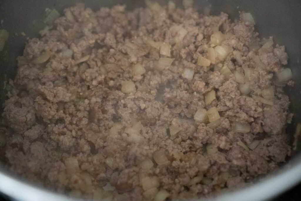 ground sausage in pot