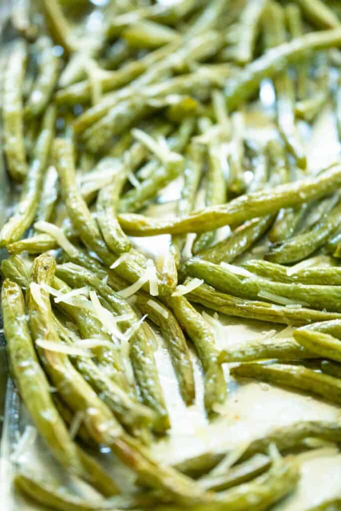 close up of roasted green bean