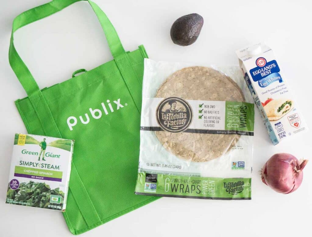 publix bag with breakfast burrito ingredients