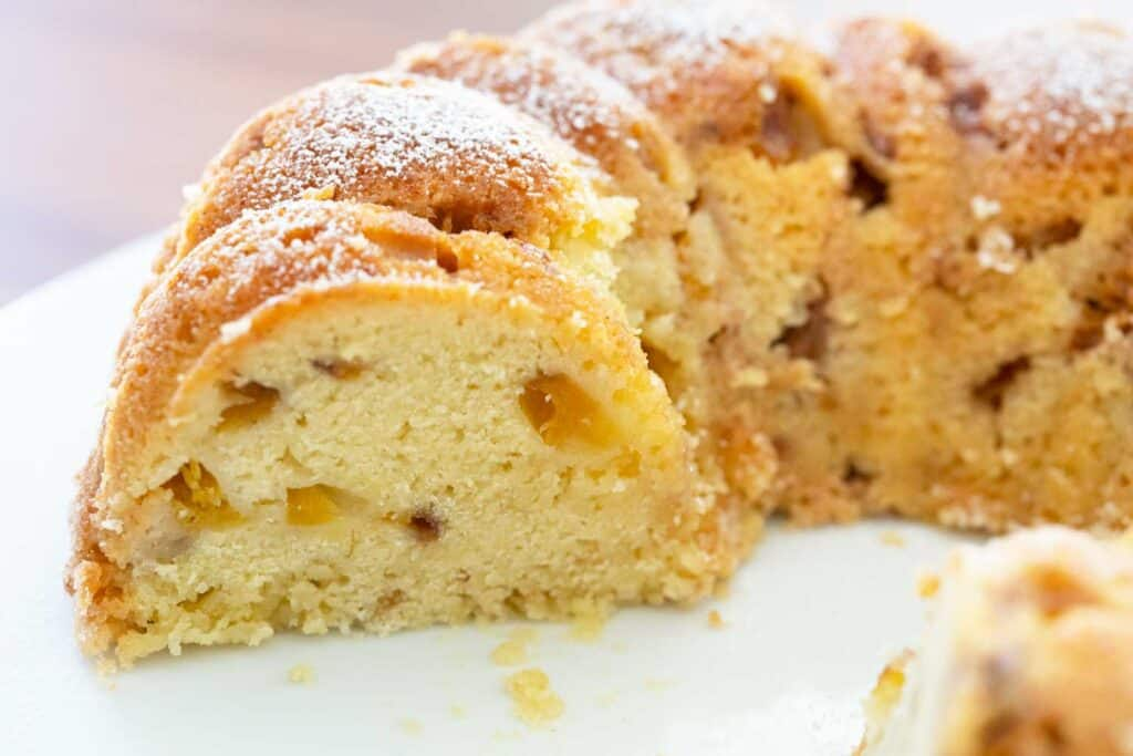 sliced peach bundt cake