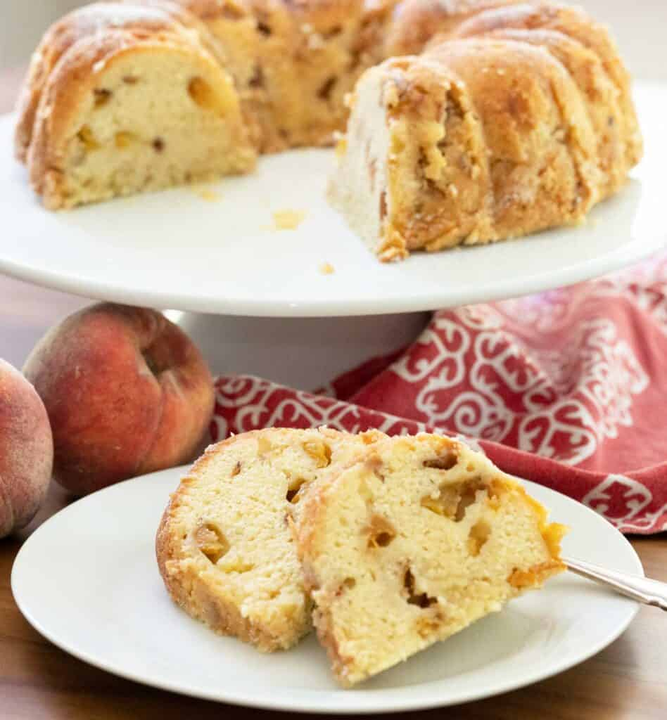 slices of peach pound cake on plate