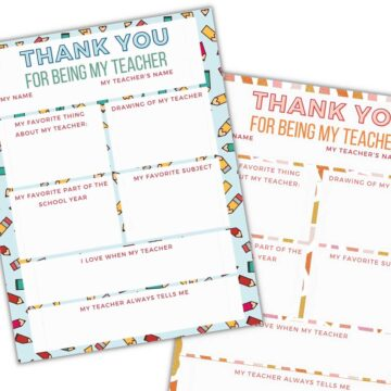 collage of teacher thank you printables