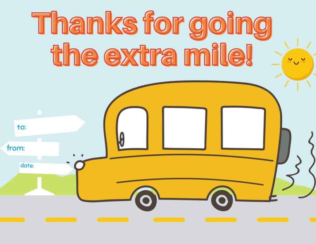 printable bus driver thank you card
