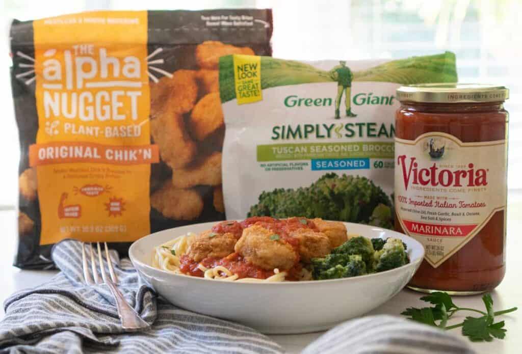 """vegan """"chicken"""" marinara with ingredients"""