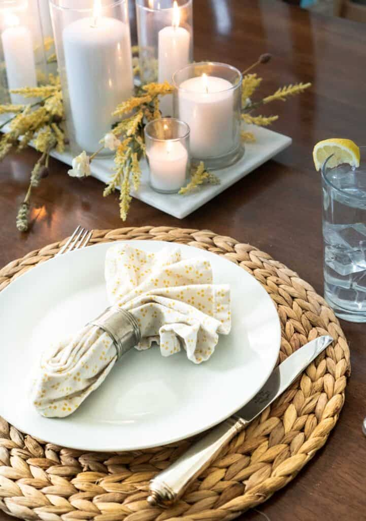 place setting with cloth napkin