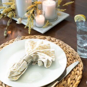 place setting with candles