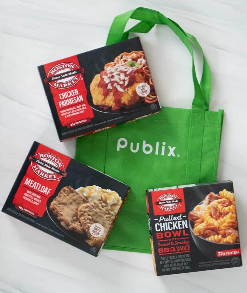 publix bag and 3 boston market frozen meals