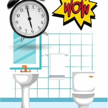 graphic with bathroom, alarm clock and WOW written