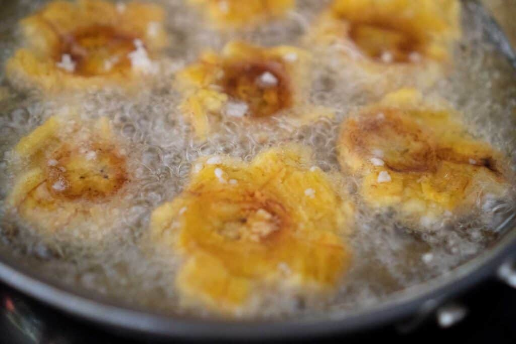 frying tostones in skillet